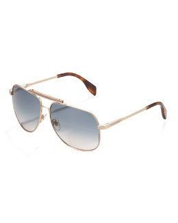 Alexander McQueen Wood-Bridge Aviator Sunglasses