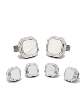 Mother-of-Pearl Cuff Links & Stud Set