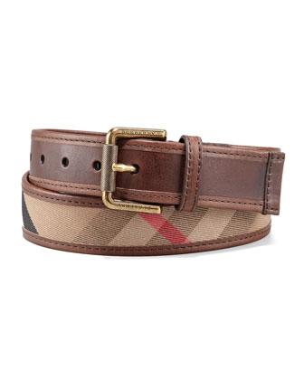 Check Leather Belt