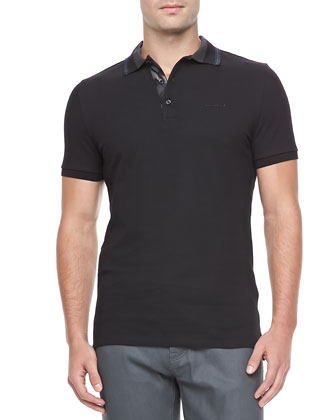 Tipped Logo Polo, Black