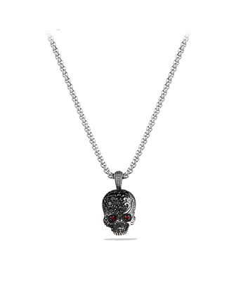 Waves Skull Amulet with Rubies, Black Diamonds, and Black Titanium on Chain ...