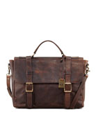 Logan Antiqued Flap Briefcase