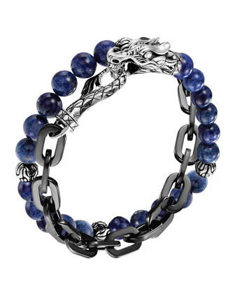 Naga Lapis & Chain Wrap Bracelet