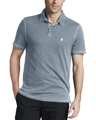 Pickstitched Slub Polo, Fog