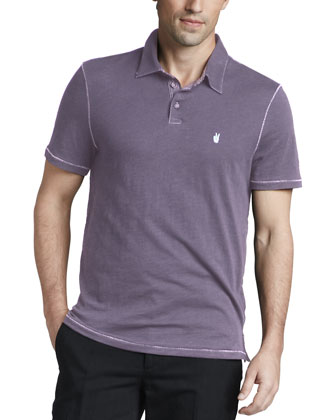 Pickstitched Slub Polo, Wisteria