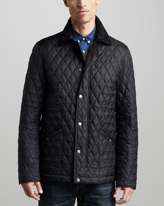 Cord-Collar Quilted Jacket & Faded Dark Jeans