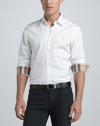 Check-Detail Sport Shirt, White