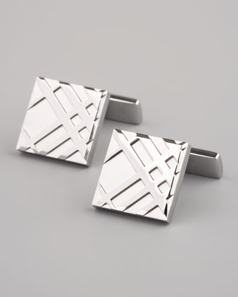 Embossed Check Cuff Links, Silver