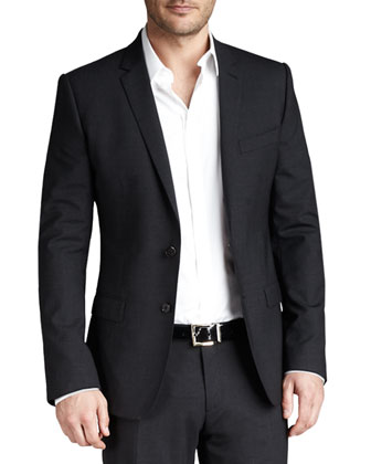 Martini Stretch-Wool Suit, Charcoal