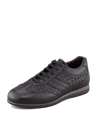 Woven Leather Sneaker, Black