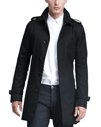 Single-Breasted Poly-Cotton Trenchcoat, Black
