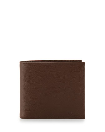 Saffiano Bi-Fold Wallet, Brown