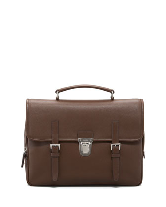 Saffiano Flap Briefcase, Brown