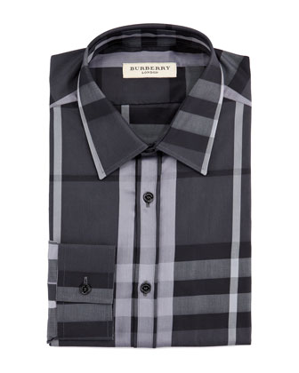 Modern-Fit Beat Check Sport Shirt, Black