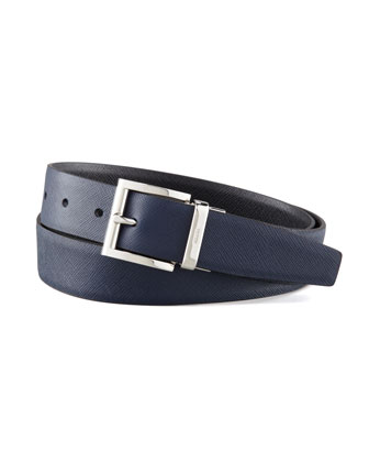 Saffiano Leather Reversible Belt, Black/Navy Blue