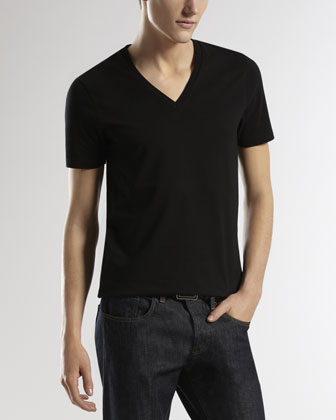 V-Neck Tee with Logo-Back, Black