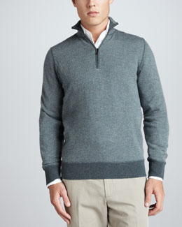 Loro Piana Roadster Half-Zip Cashmere Sweater, Jungle Green