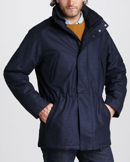 Loro Piana Check-Lined Drawstring Jacket