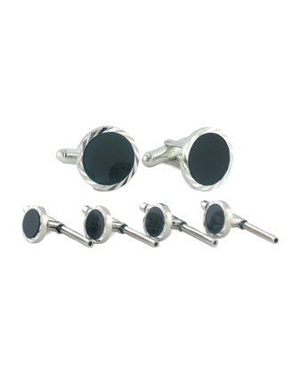 Black Onyx Cuff Links & Studs Set