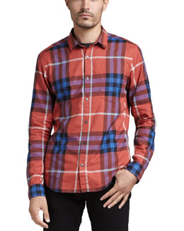 Burberry Brit Check Button-Down Shirt, Rowan Berry