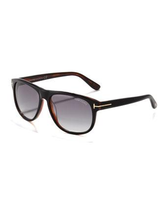 Olivier Plastic Sunglasses, Black/Horn
