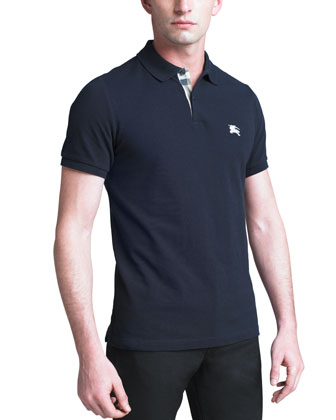 Modern-Fit Logo Polo, Navy