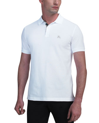 Modern-Fit Logo Polo, White
