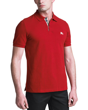 Modern-Fit Logo Polo, Military Red