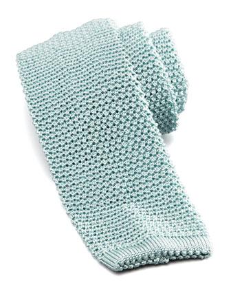 Knit Silk Tie, Sky