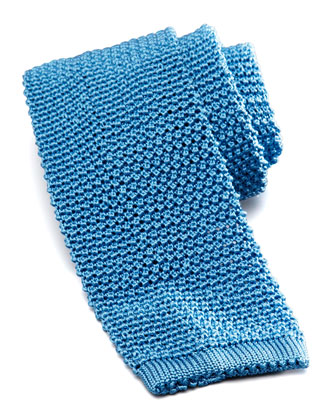 Knit Silk Tie, Light Blue