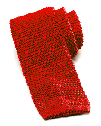 Knit Silk Tie, Red