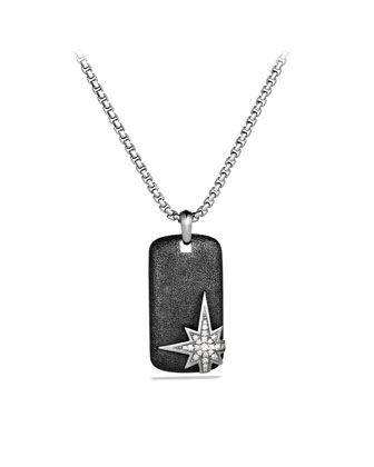 Maritime North Star Tag with Diamonds on Chain
