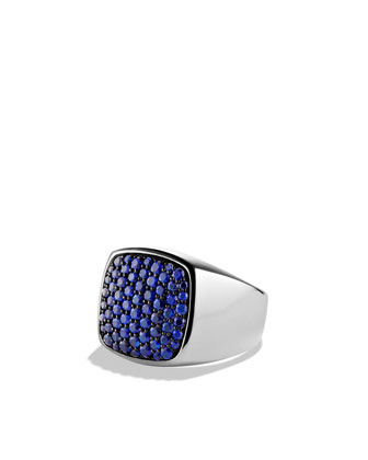 Pav?? Signet Ring with Sapphires