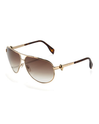 Skull-Temple Aviator Sunglasses