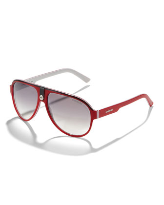 Plastic Sport Aviator Sunglasses, Red