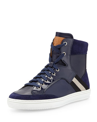 Perforated Leather Logo Sneaker, Navy