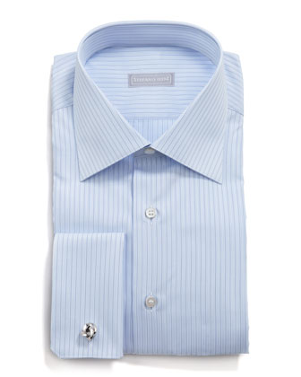 Pinstripe Dress Shirt, Light Blue