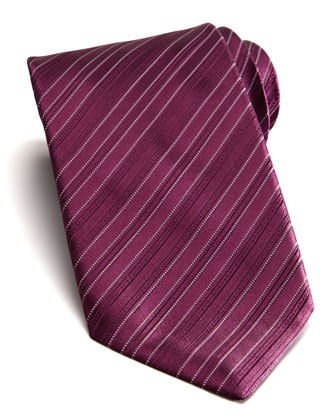 Tonal Stripe Silk Tie, Purple
