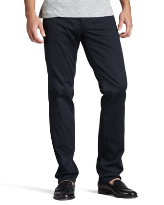 Slim Five-Pocket Twill Pants, Eclipse Navy