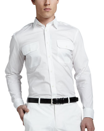 Two-Pocket Military Shirt, White