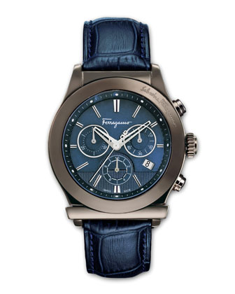 Croc-Embossed Chronograph Watch, Blue