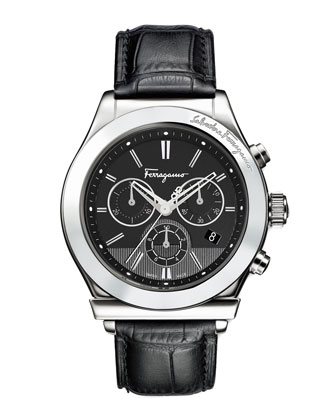 Croc-Embossed Chronograph Watch, Black