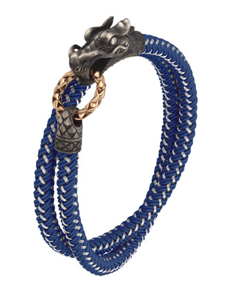 Naga Nylon Cord Wrap Bracelet, Blue