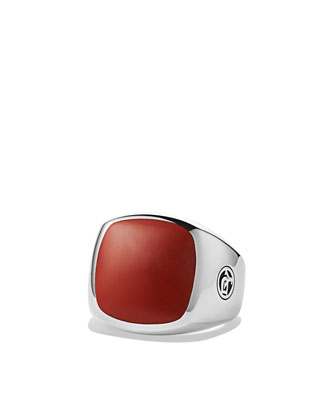 Exotic Stone Signet Ring with Red Jasper