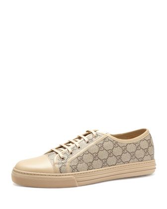 California GG PU Fabric Low-Top Sneaker,Beige/Ebony/Cream