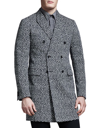 Hexagon-Print Double-Breasted Jacket