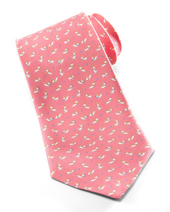 Jumping Dog Silk Tie, Pink
