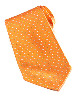 Salvatore Ferragamo Micro-Bee Silk Tie, Orange