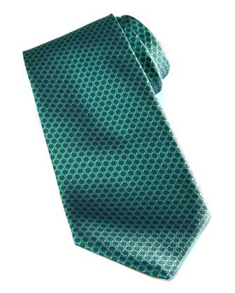Woven Geometric Silk Tie, Green