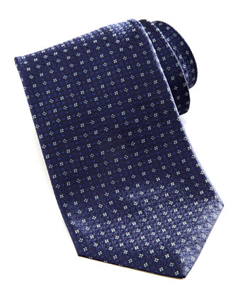 Micro-Flower Silk Tie, Navy